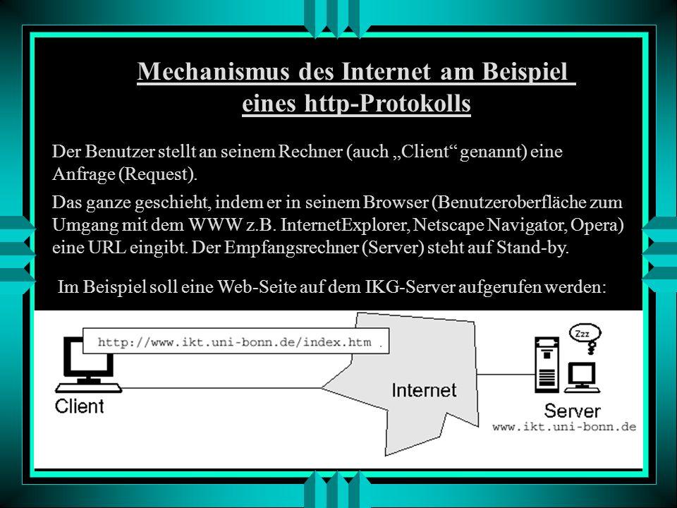 Mechanismus des Internet am Beispiel eines http-Protokolls