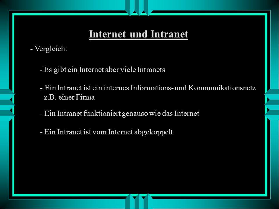 Internet und Intranet - Vergleich: