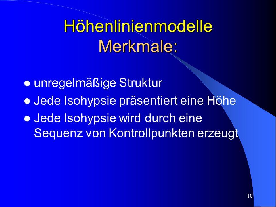 Höhenlinienmodelle Merkmale: