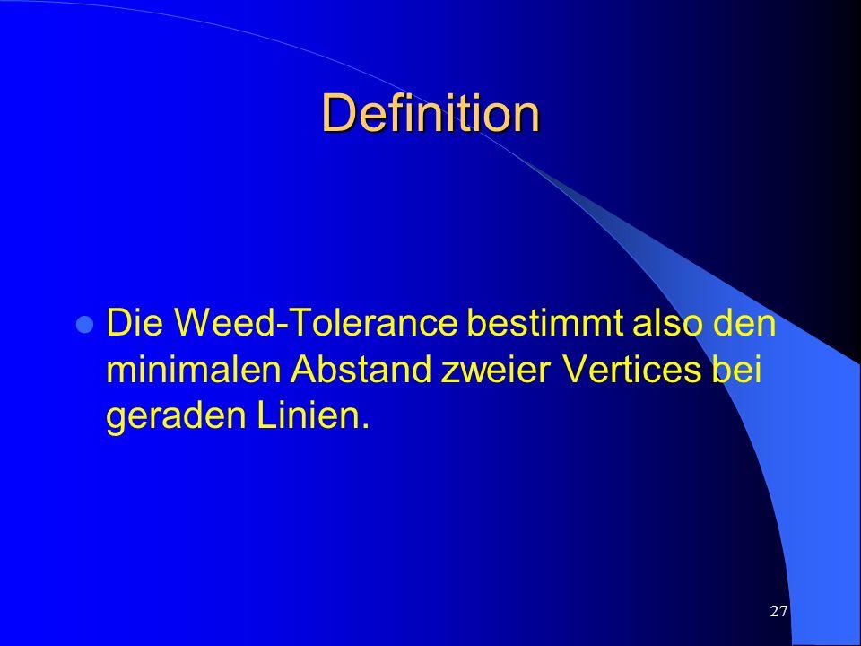 Definition Die Weed-Tolerance bestimmt also den minimalen Abstand zweier Vertices bei geraden Linien.