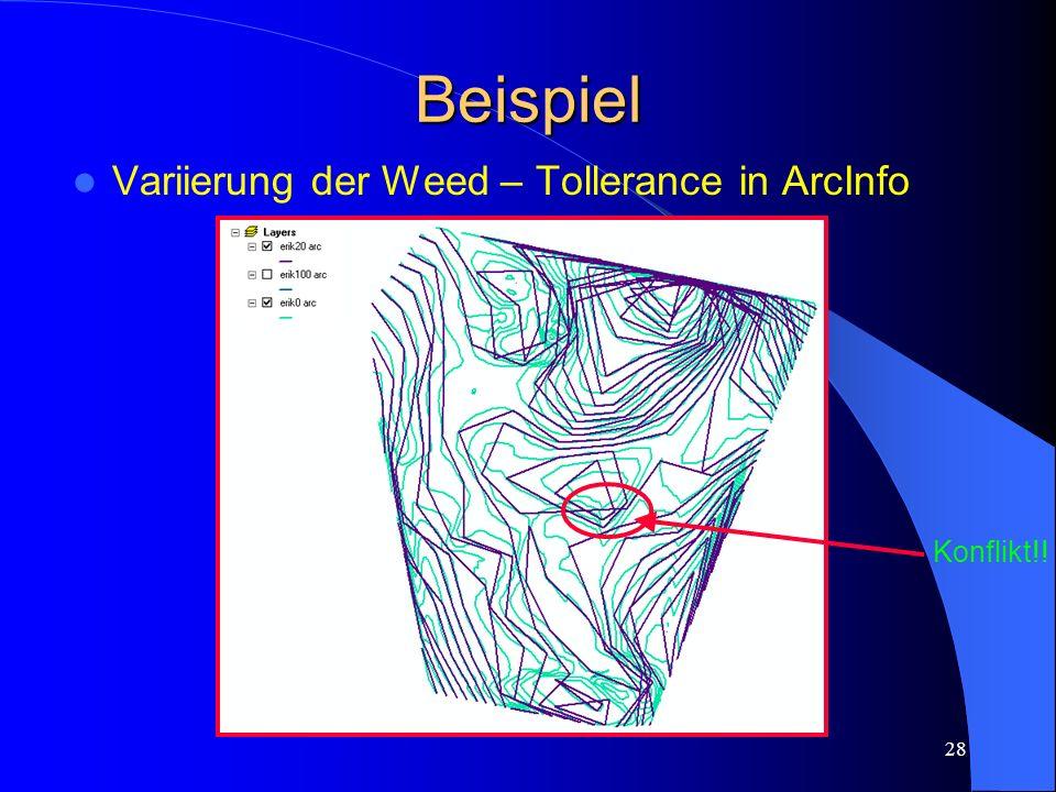 Beispiel Variierung der Weed – Tollerance in ArcInfo Konflikt!!