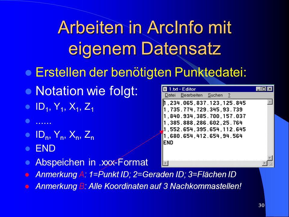 Arbeiten in ArcInfo mit eigenem Datensatz