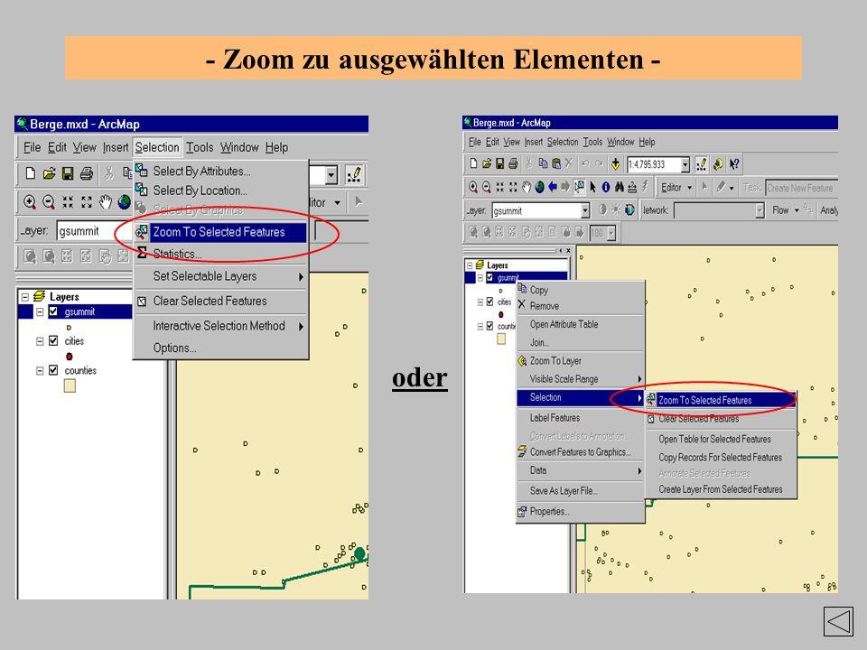 - Zoom zu ausgewählten Elementen -