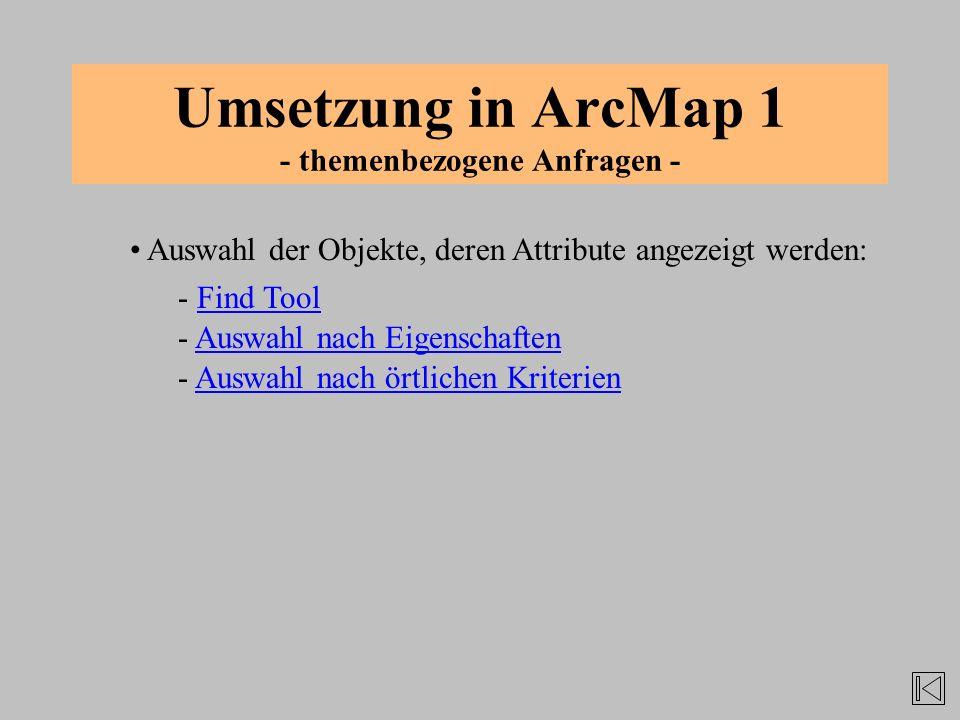 Umsetzung in ArcMap 1 - themenbezogene Anfragen -