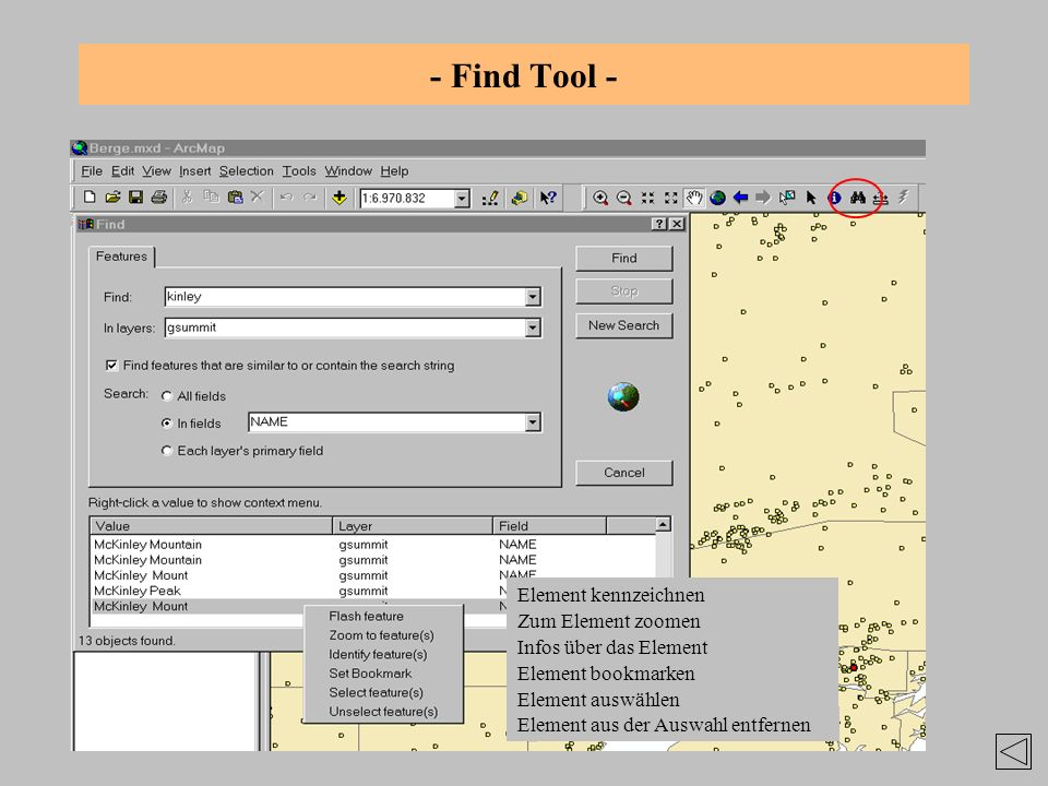 - Find Tool - Element kennzeichnen Zum Element zoomen