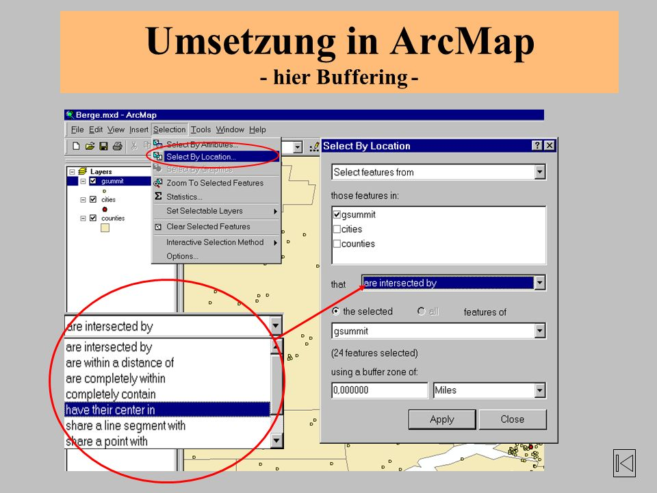 Umsetzung in ArcMap - hier Buffering -