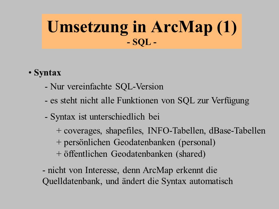 Umsetzung in ArcMap (1) - SQL -