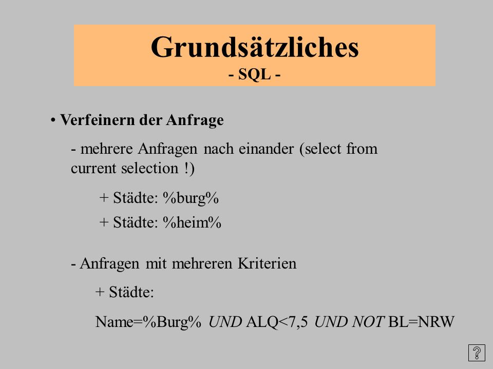 Grundsätzliches - SQL -