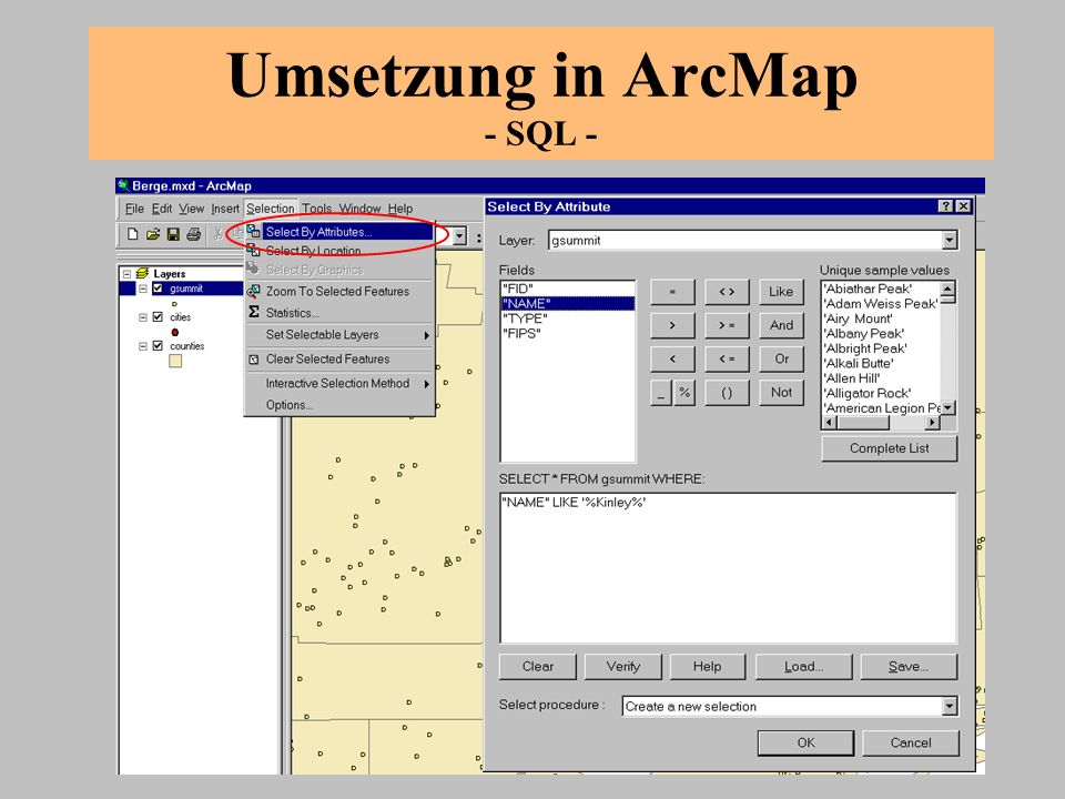 Umsetzung in ArcMap - SQL -