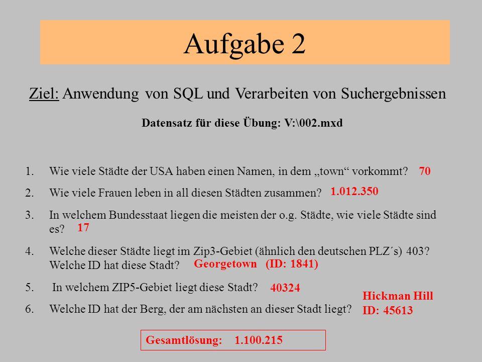 Aufgabe 2 Ziel: Anwendung von SQL und Verarbeiten von Suchergebnissen