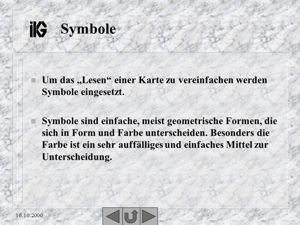 """Symbole Um das """"Lesen einer Karte zu vereinfachen werden Symbole eingesetzt."""