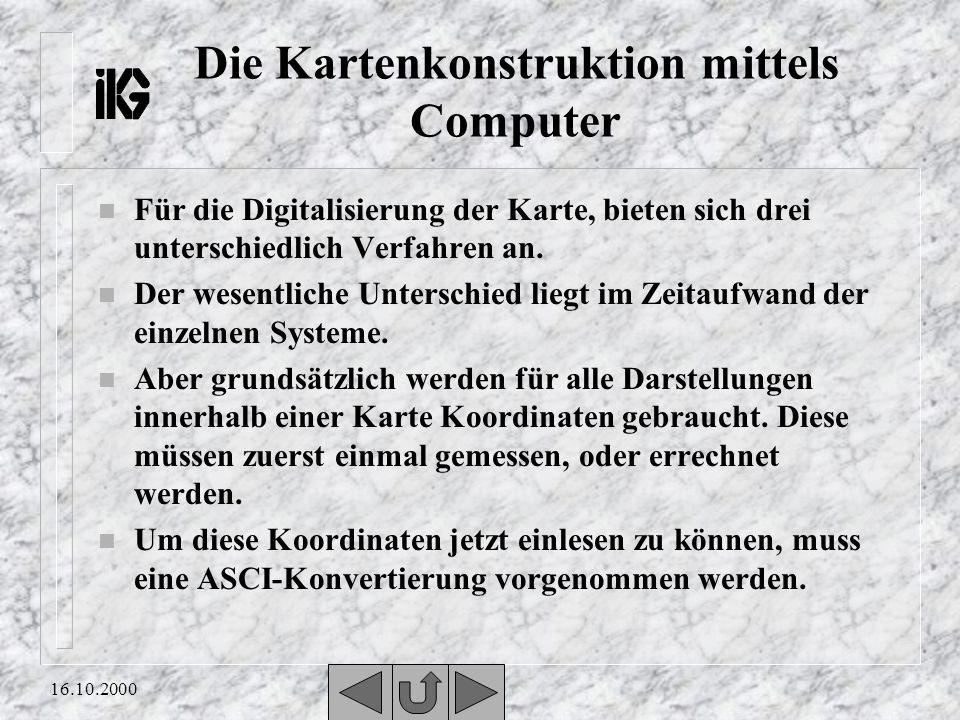 Die Kartenkonstruktion mittels Computer