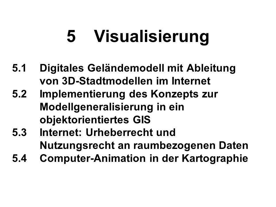 5 Visualisierung 5.1 Digitales Geländemodell mit Ableitung von 3D-Stadtmodellen im Internet.