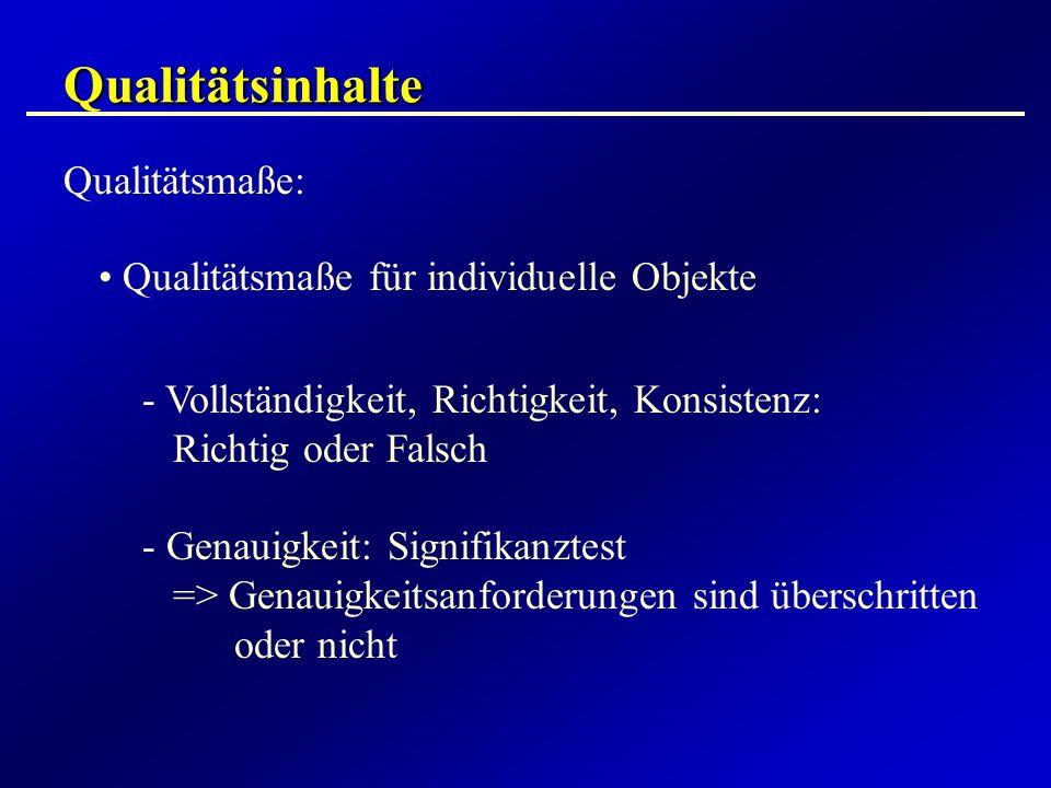 Qualitätsinhalte Qualitätsmaße: Qualitätsmaße für individuelle Objekte