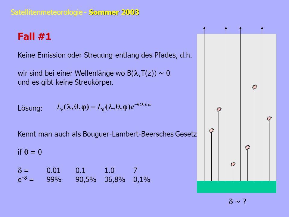 Fall #1 Keine Emission oder Streuung entlang des Pfades, d.h. wir sind bei einer Wellenlänge wo B(l,T(z)) ~ 0.