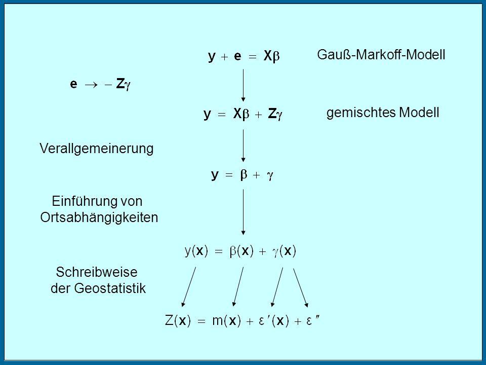 Gauß-Markoff-Modell gemischtes Modell. Verallgemeinerung. Einführung von. Ortsabhängigkeiten. Schreibweise.