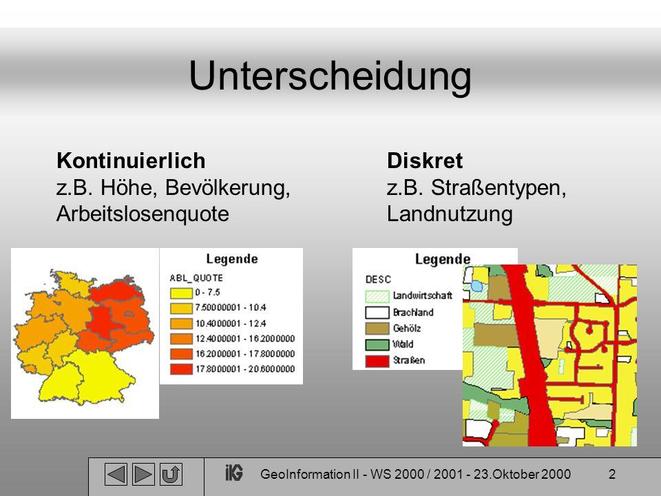 GeoInformation II - WS 2000 / 2001 - 23.Oktober 2000