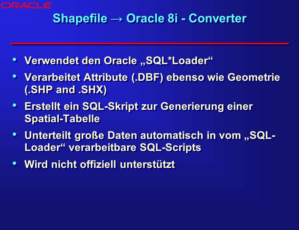 Shapefile → Oracle 8i - Converter
