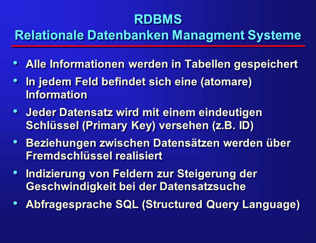RDBMS Relationale Datenbanken Managment Systeme