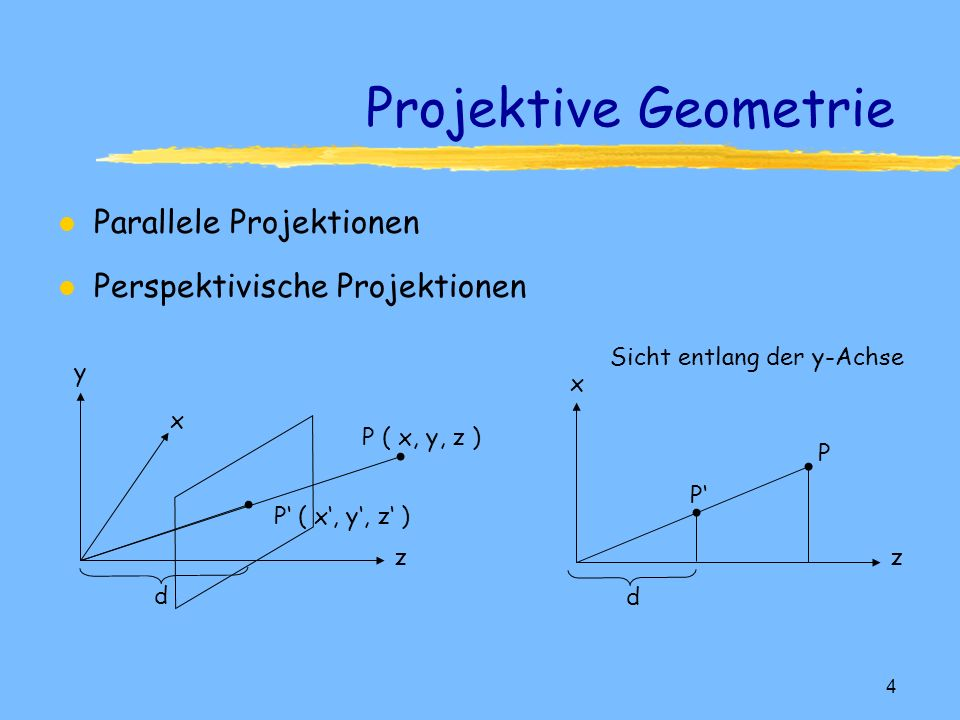 Projektive Geometrie Parallele Projektionen