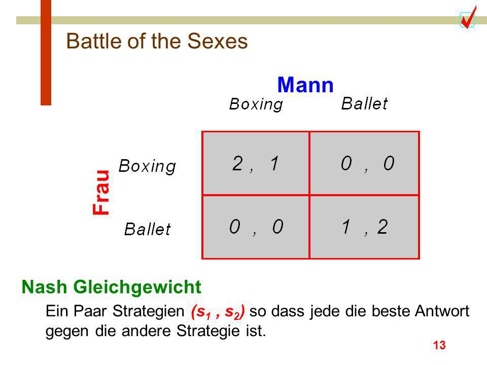 Battle of the Sexes Mann Frau Nash Gleichgewicht