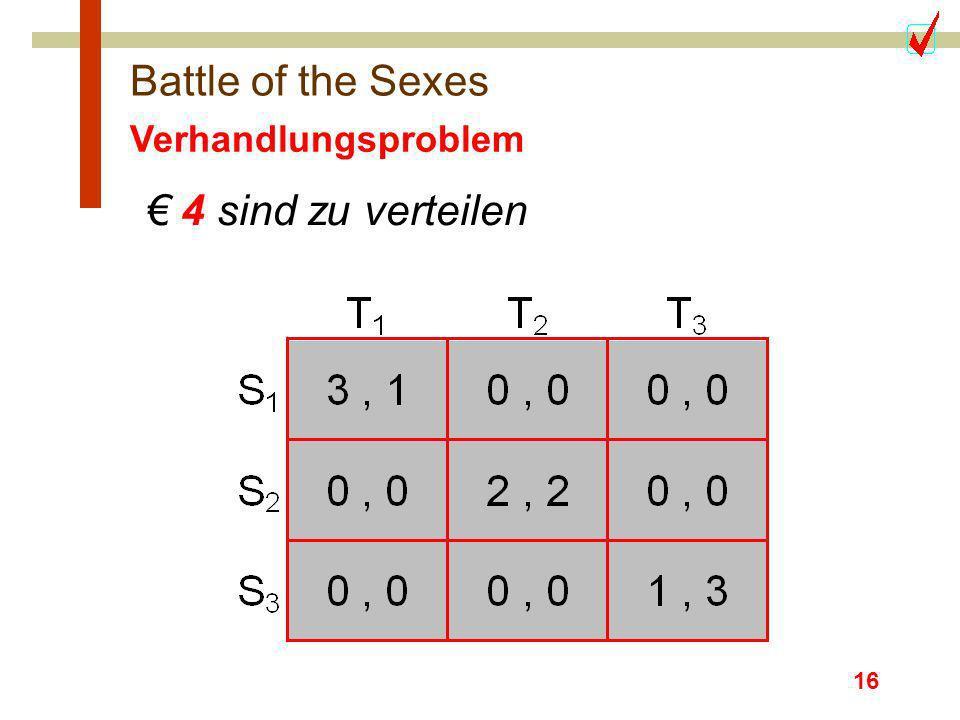 Battle of the Sexes Verhandlungsproblem € 4 sind zu verteilen