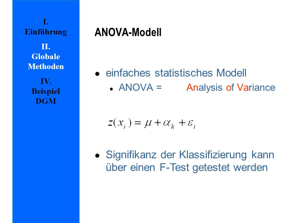 ANOVA-Modell einfaches statistisches Modell