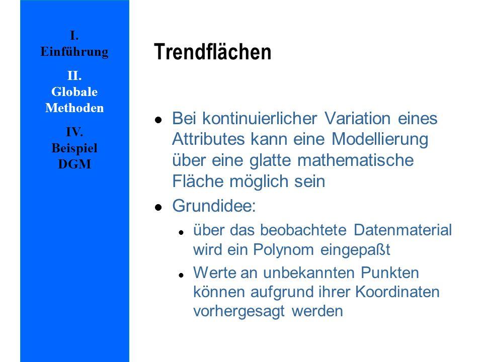 Trendflächen I. Einführung. II. Globale Methoden. IV. Beispiel DGM.