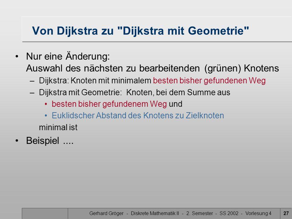 Von Dijkstra zu Dijkstra mit Geometrie