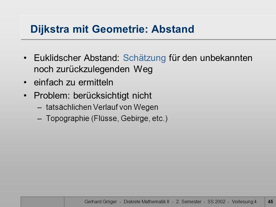 Dijkstra mit Geometrie: Abstand
