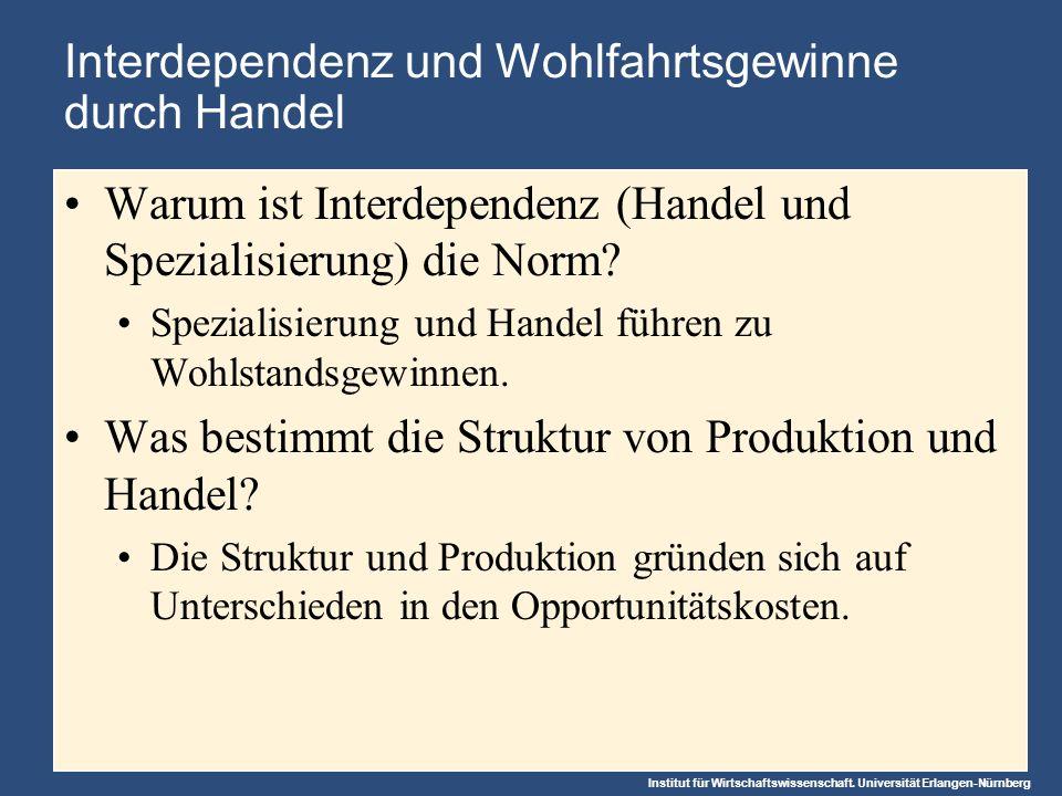 Interdependenz und Wohlfahrtsgewinne durch Handel