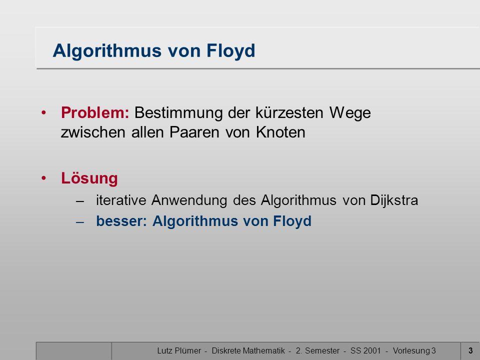 Algorithmus von Floyd Problem: Bestimmung der kürzesten Wege zwischen allen Paaren von Knoten. Lösung.