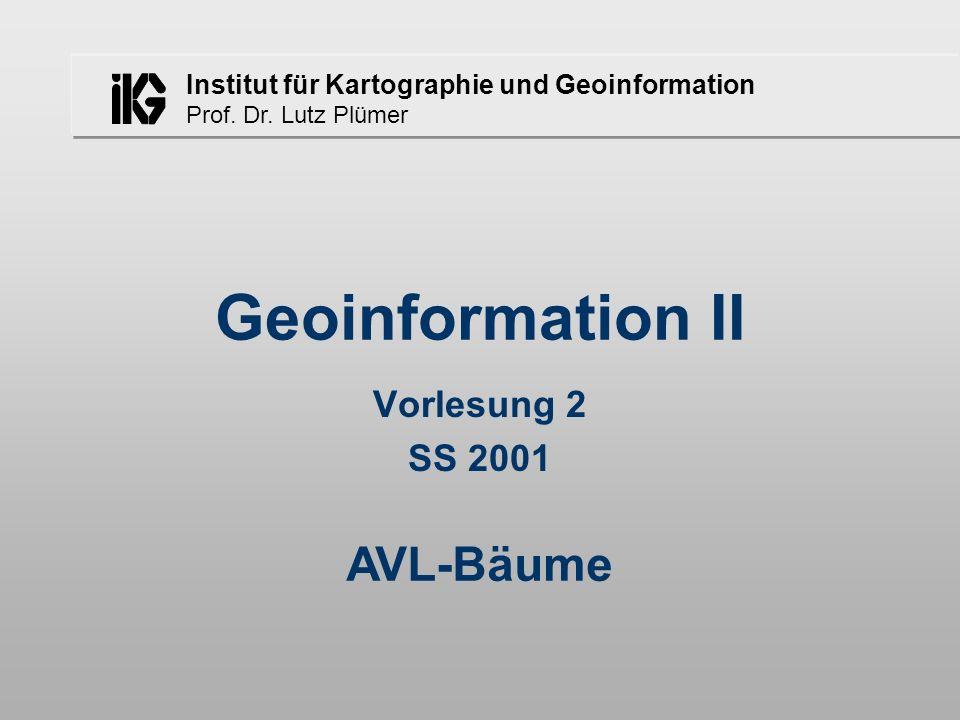 Geoinformation II Vorlesung 2 SS 2001 AVL-Bäume
