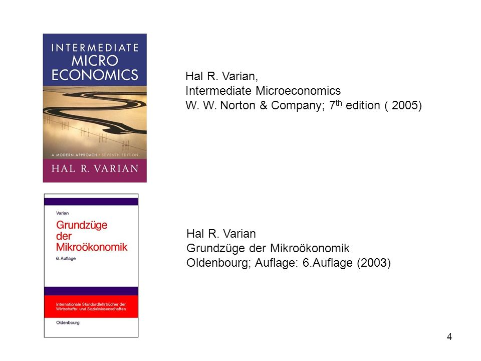 Hal R. Varian, Intermediate Microeconomics. W. W. Norton & Company; 7th edition ( 2005) Hal R. Varian.