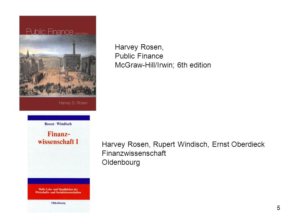 Harvey Rosen, Public Finance. McGraw-Hill/Irwin; 6th edition. Harvey Rosen, Rupert Windisch, Ernst Oberdieck.
