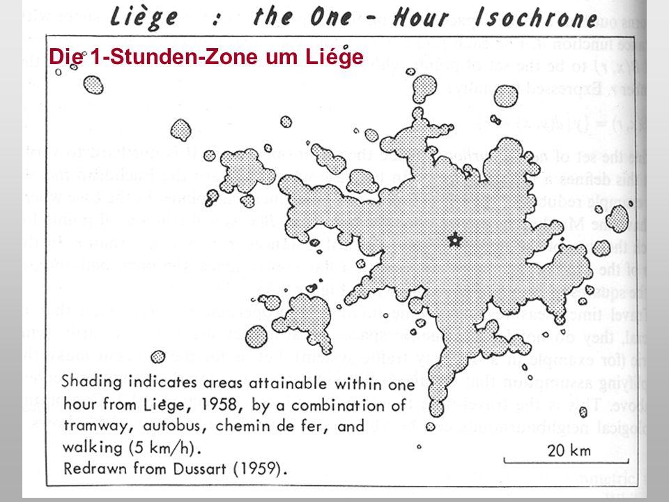 Die 1-Stunden-Zone um Liége