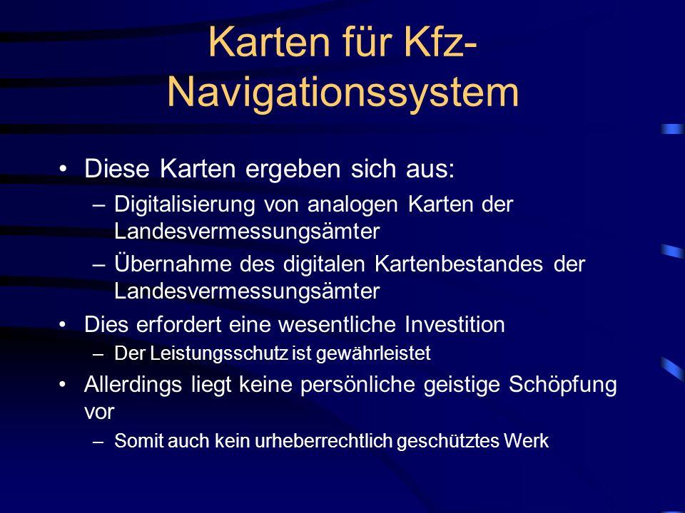 Karten für Kfz-Navigationssystem
