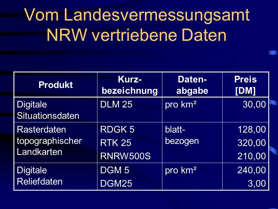 Vom Landesvermessungsamt NRW vertriebene Daten