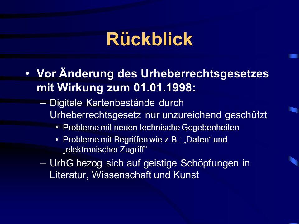 Rückblick Vor Änderung des Urheberrechtsgesetzes mit Wirkung zum 01.01.1998: