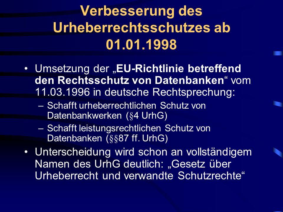 Verbesserung des Urheberrechtsschutzes ab 01.01.1998