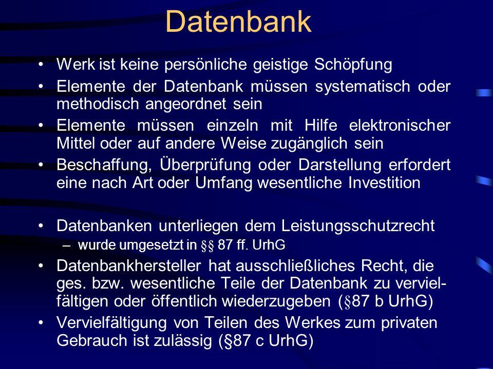Datenbank Werk ist keine persönliche geistige Schöpfung