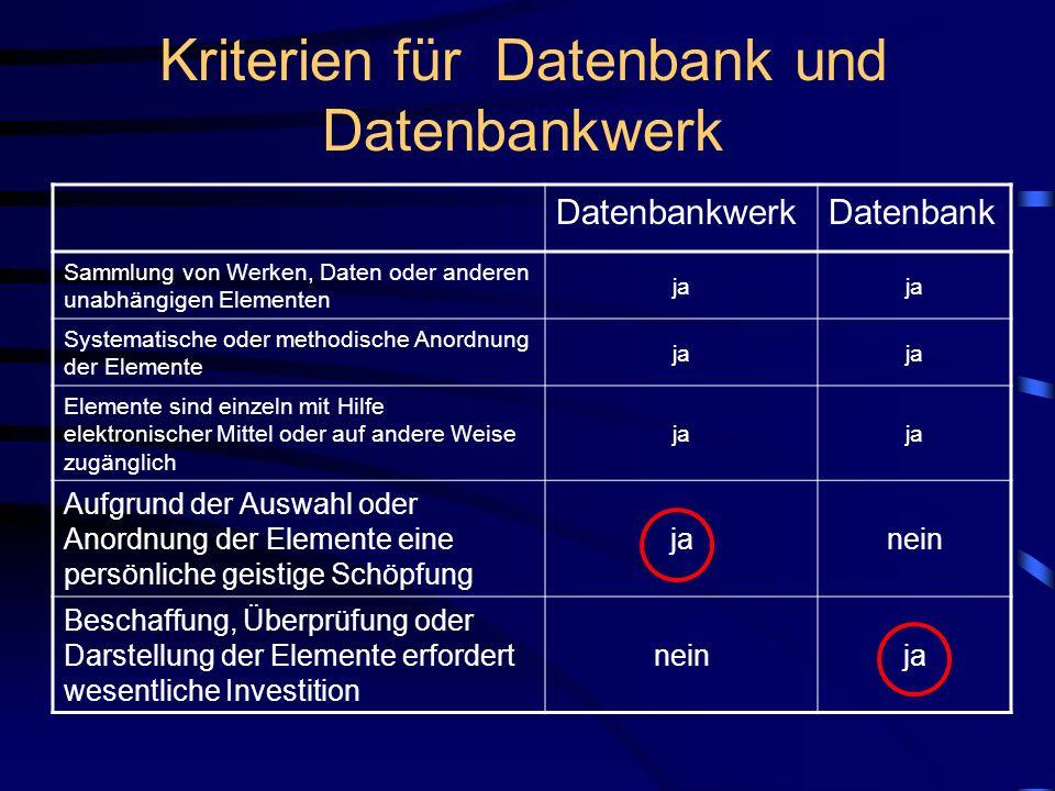 Kriterien für Datenbank und Datenbankwerk