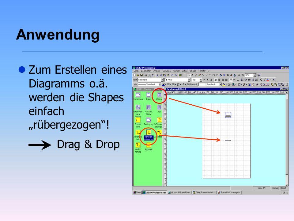 """Anwendung Zum Erstellen eines Diagramms o.ä. werden die Shapes einfach """"rübergezogen ! Drag & Drop"""