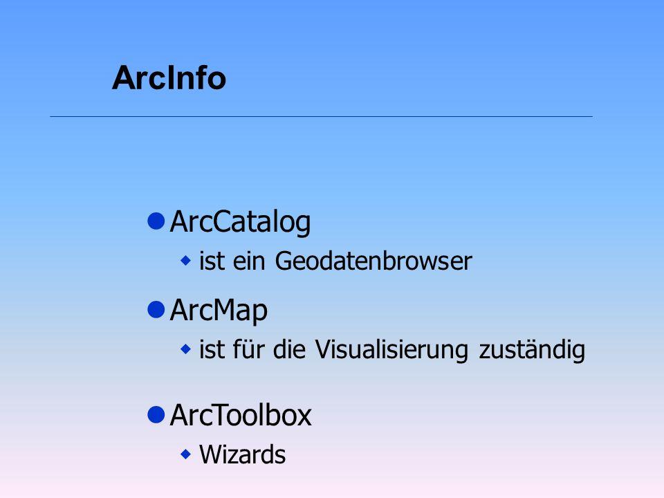 ArcInfo ArcCatalog ArcMap ArcToolbox ist ein Geodatenbrowser