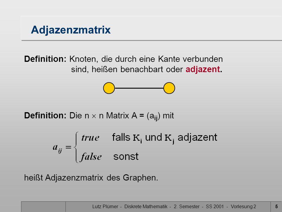 AdjazenzmatrixDefinition: Knoten, die durch eine Kante verbunden sind, heißen benachbart oder adjazent.