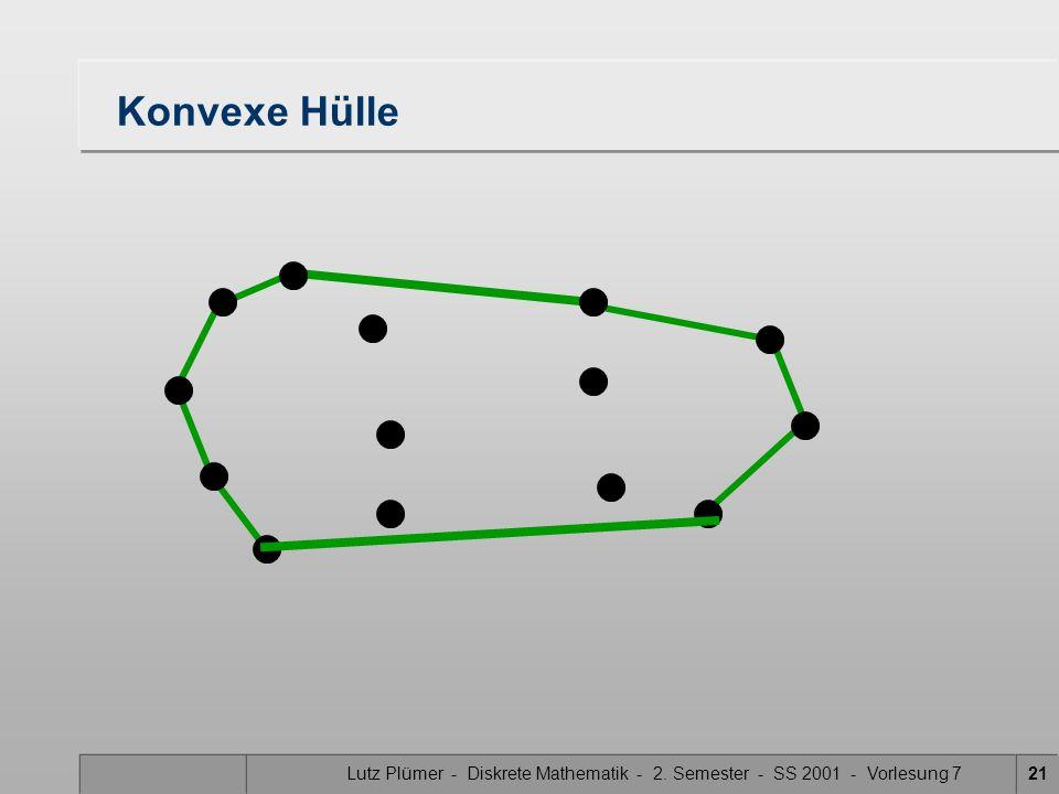 Konvexe Hülle Lutz Plümer - Diskrete Mathematik - 2. Semester - SS 2001 - Vorlesung 7