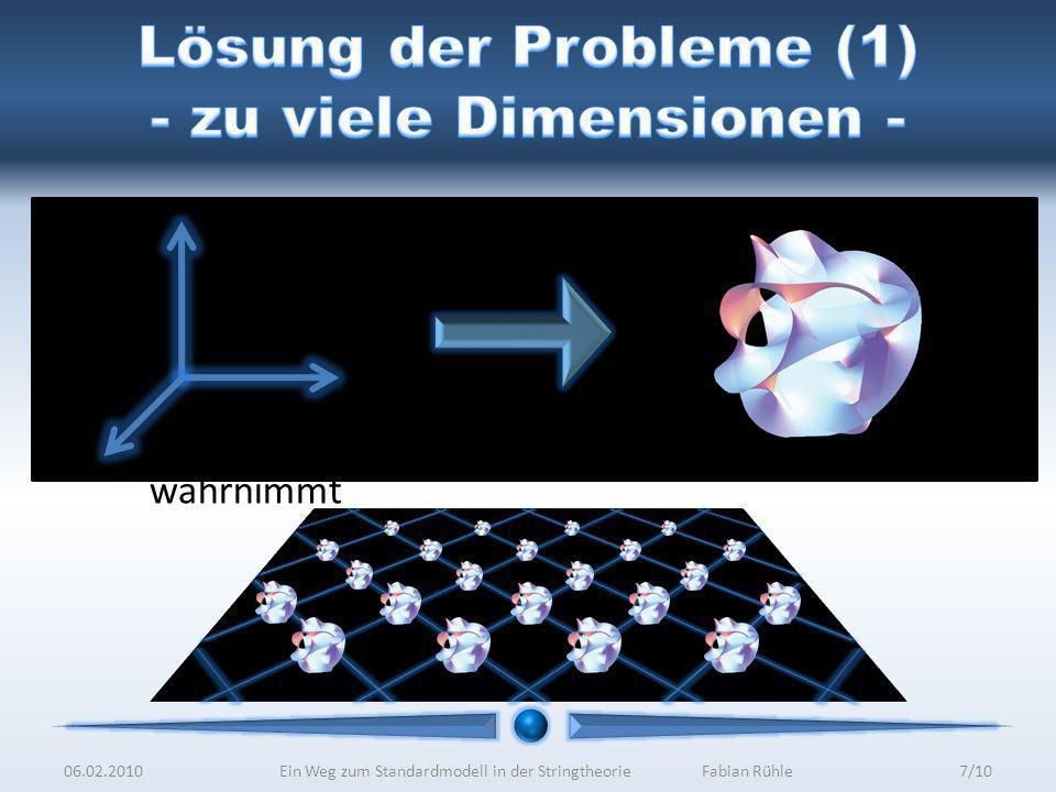 Lösung der Probleme (1) - zu viele Dimensionen -