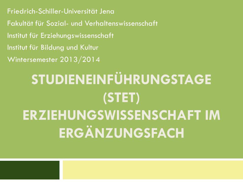 Studieneinführungstage (STET) Erziehungswissenschaft im Ergänzungsfach