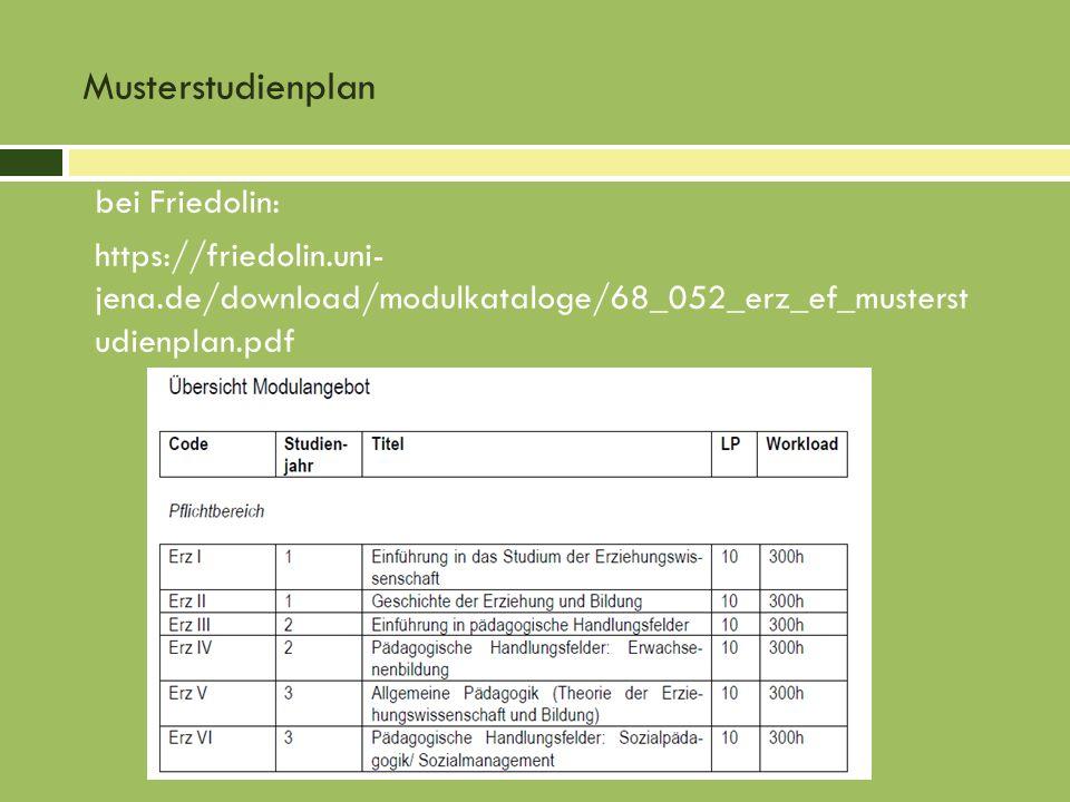 Musterstudienplanbei Friedolin: https://friedolin.uni- jena.de/download/modulkataloge/68_052_erz_ef_musterst udienplan.pdf