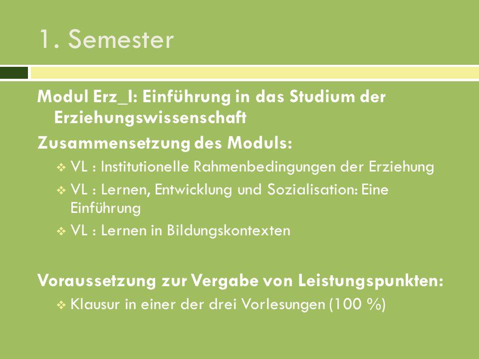 1. Semester Modul Erz_I: Einführung in das Studium der Erziehungswissenschaft. Zusammensetzung des Moduls:
